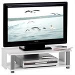 TV-Rack Mediamöbel in weiß und grau mit einem offenen Fach