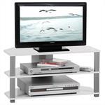 TV-Rack TV-Möbel in weiß und grau mit 2 offenen Fächern