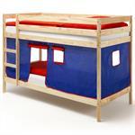 Etagenbett Doppelstockbett FELIX, Kiefer massiv, natur lackiert, inkl. Vorhang in blau und rot