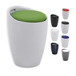 Sitzhocker Arbeitshocker DANIEL mit Stauraum in 7 verschiedenen Farben, moderne Designkombination aus hochwertigem Kunststoff und Lederimitat
