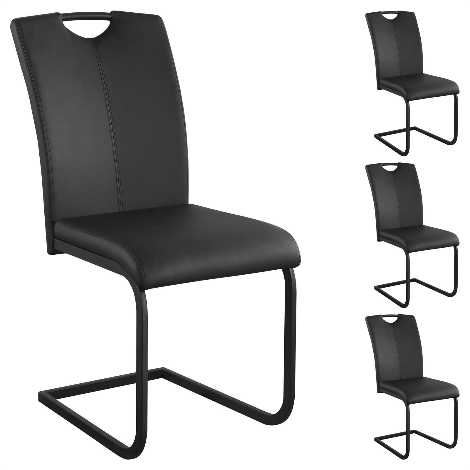 4er set schwingstuhl freischwinger esszimmerstuhl k chenstuhl in 2 farben ebay. Black Bedroom Furniture Sets. Home Design Ideas