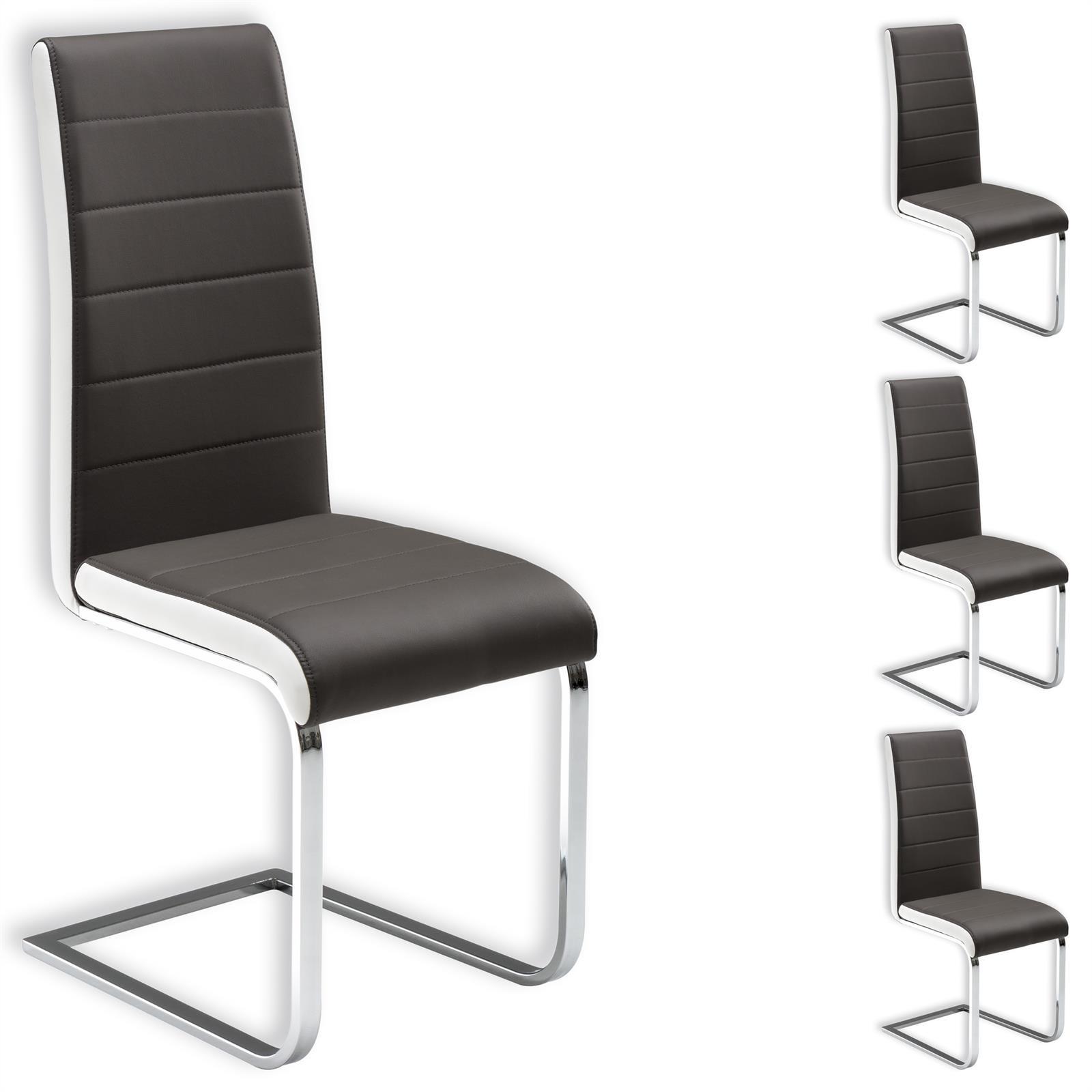 esszimmerstuhl freischwinger k chenstuhl 4er set lederimitat farbauswahl ebay. Black Bedroom Furniture Sets. Home Design Ideas