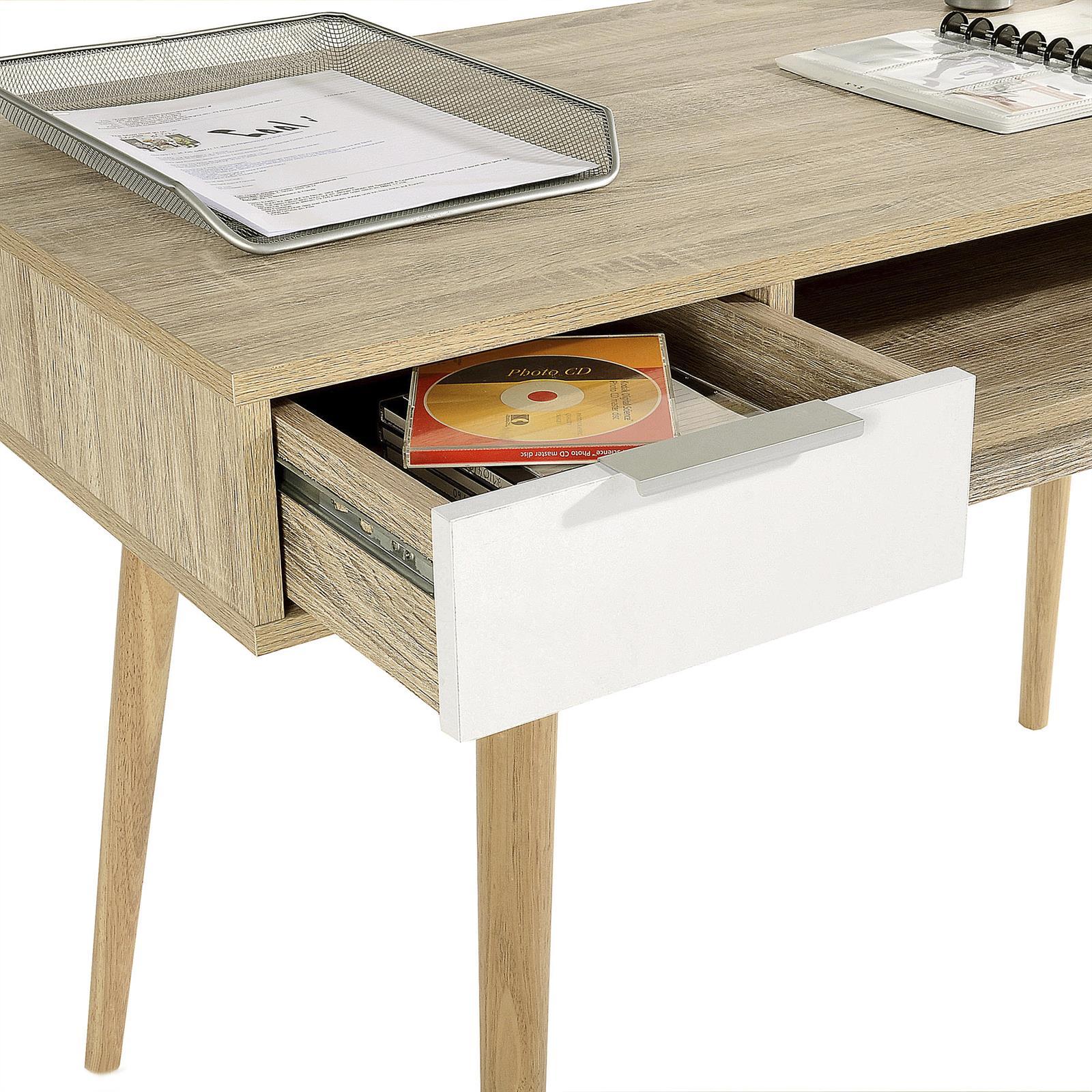 konsole anrichte konsolentisch schreibtisch sonoma eiche weiss 2 schubladen eur 89 95. Black Bedroom Furniture Sets. Home Design Ideas