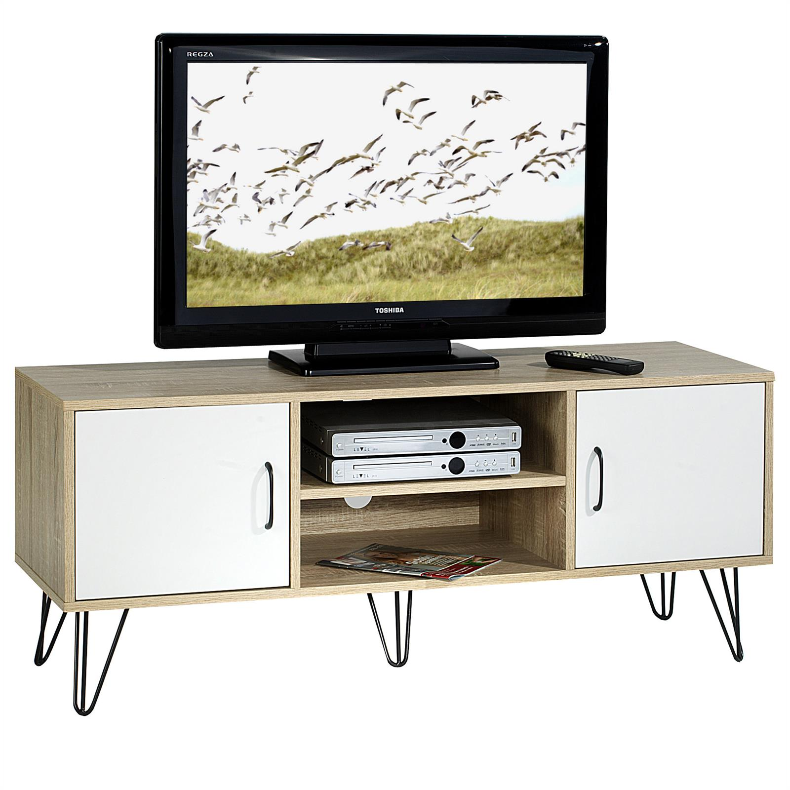 tv lowboard rack hifi m bel dvd fernsehtisch wohnzimmer 2 t ren ablagen 2 farben ebay. Black Bedroom Furniture Sets. Home Design Ideas