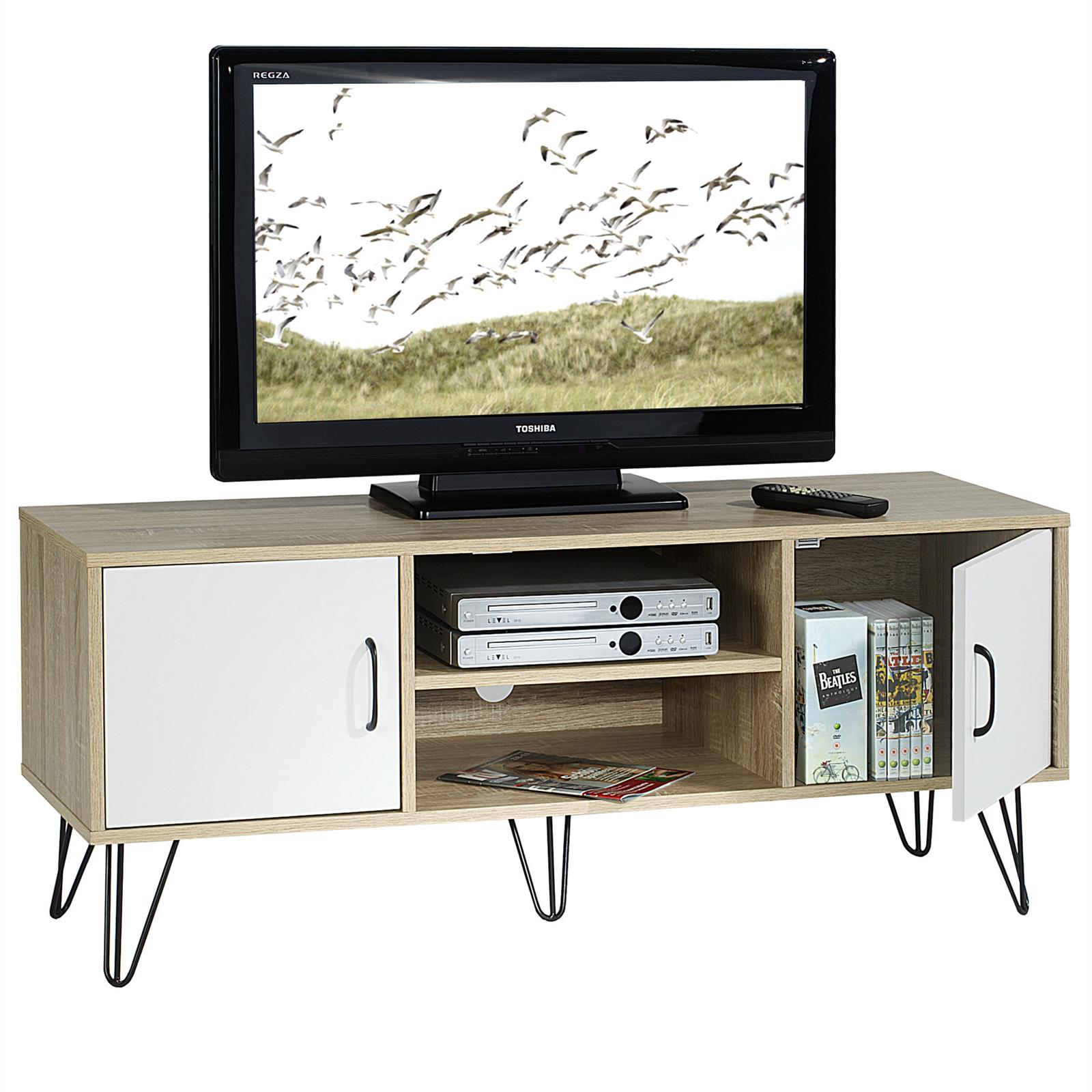 tv lowboard rack hifi m bel dvd fernsehtisch kommode wohnzimmer in 2 farben ebay. Black Bedroom Furniture Sets. Home Design Ideas