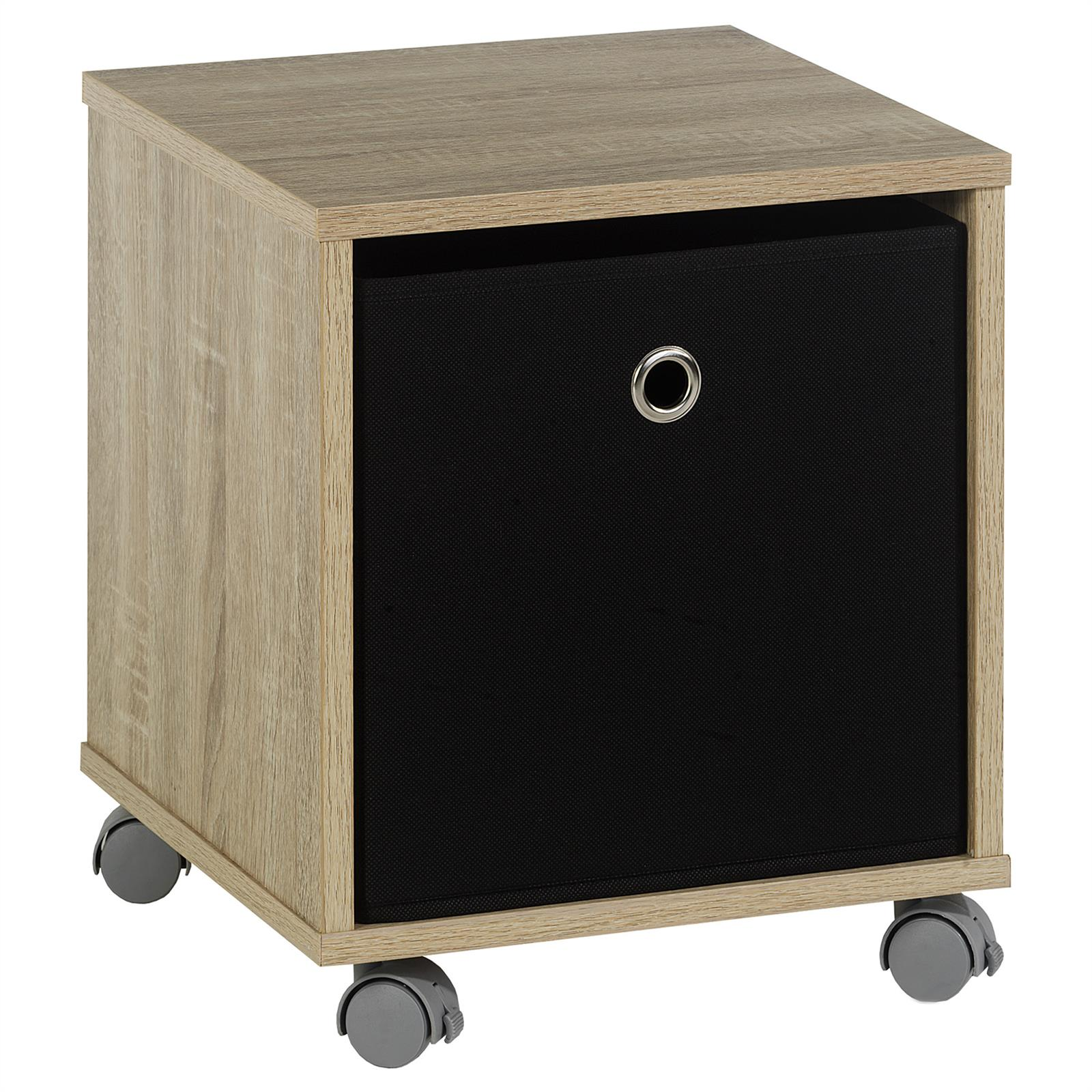 nachttisch kommode schrank rollcontainer m bel mit stoffbox auf rollen ebay. Black Bedroom Furniture Sets. Home Design Ideas