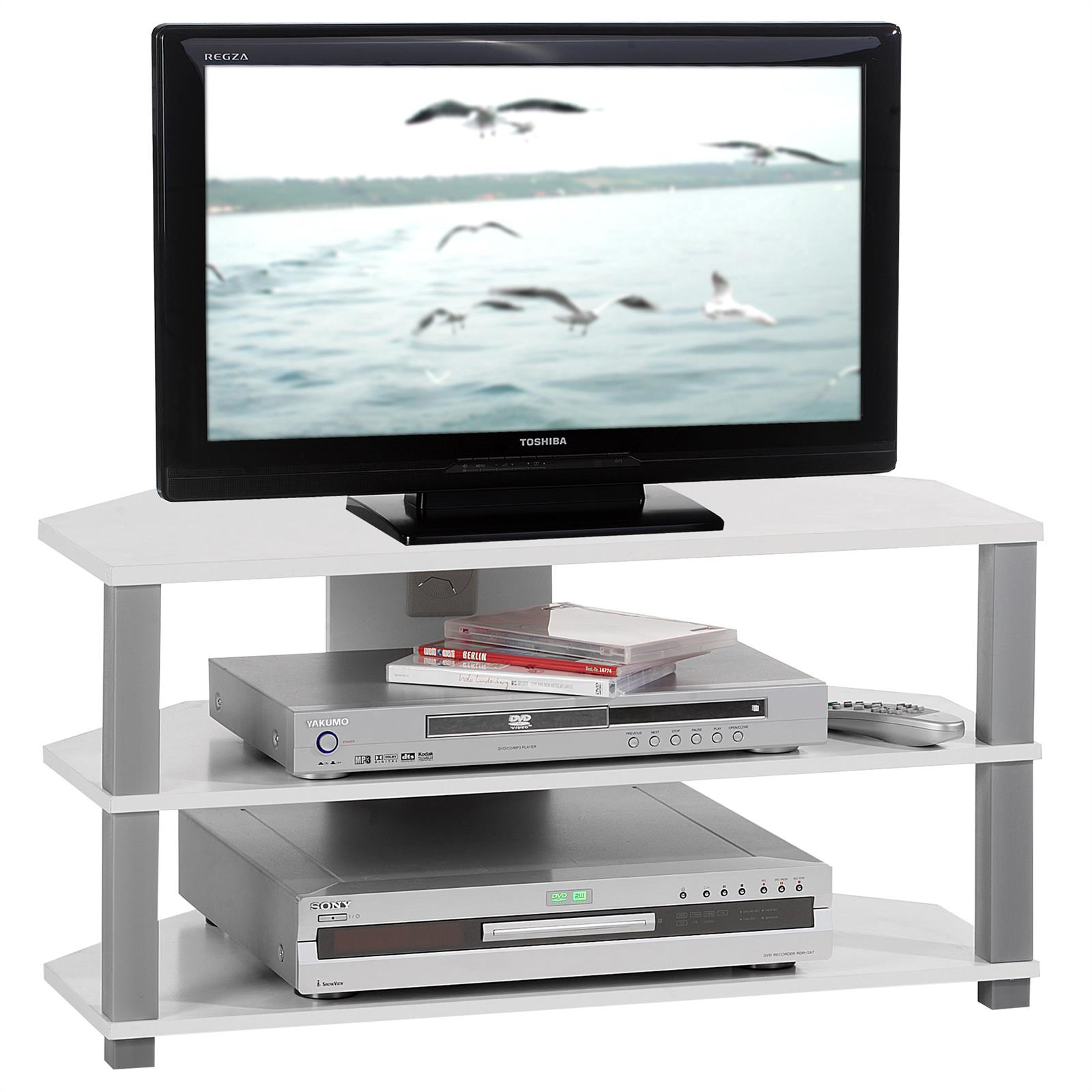 tv rack tisch schrank board unterschrank hifi media m bel design in weiss grau ebay. Black Bedroom Furniture Sets. Home Design Ideas