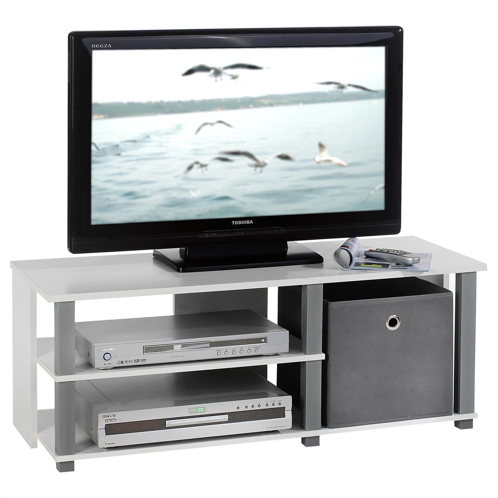 tv rack tisch schrank m bel hifi media design in weiss und grau ebay. Black Bedroom Furniture Sets. Home Design Ideas