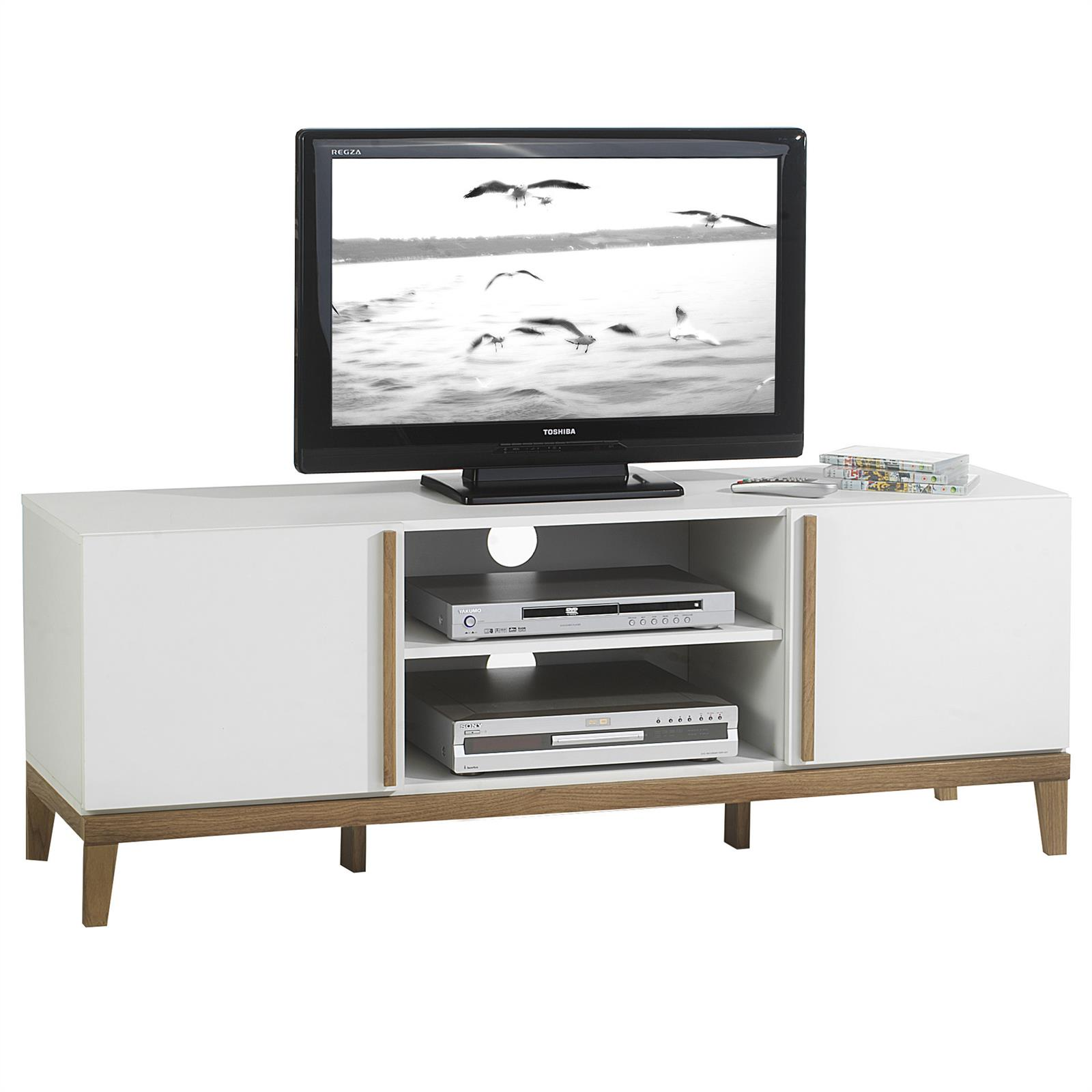 tv rack hifi m bel lowboard fernsehtisch wohnzimmertisch wei lackiert ebay. Black Bedroom Furniture Sets. Home Design Ideas