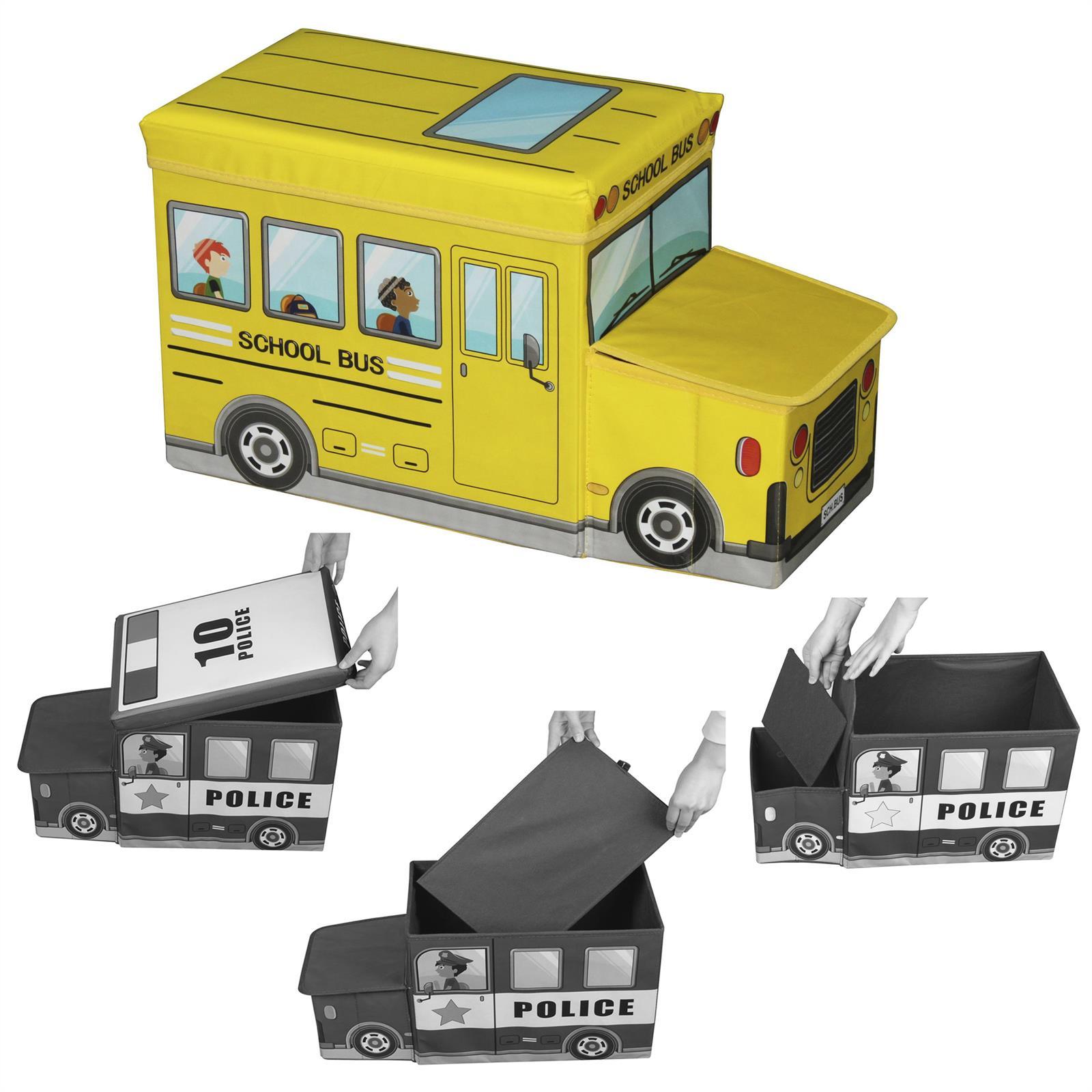 sitzhocker bus gelb spielezeugtruhe box kiste faltbar. Black Bedroom Furniture Sets. Home Design Ideas