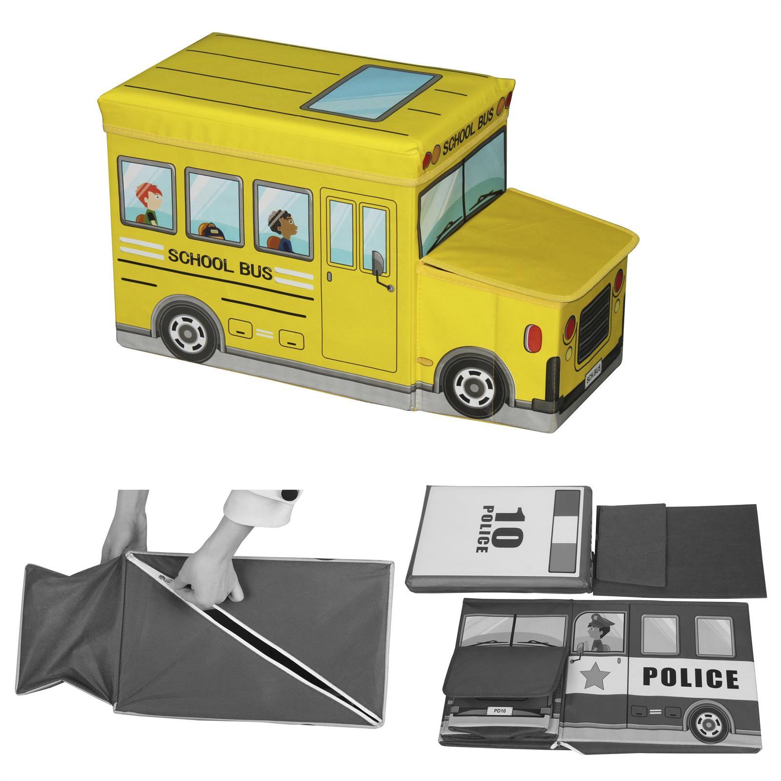 sitzhocker bus gelb spielezeugtruhe box kiste faltbar kinderzimmer 55 cm breit ebay. Black Bedroom Furniture Sets. Home Design Ideas