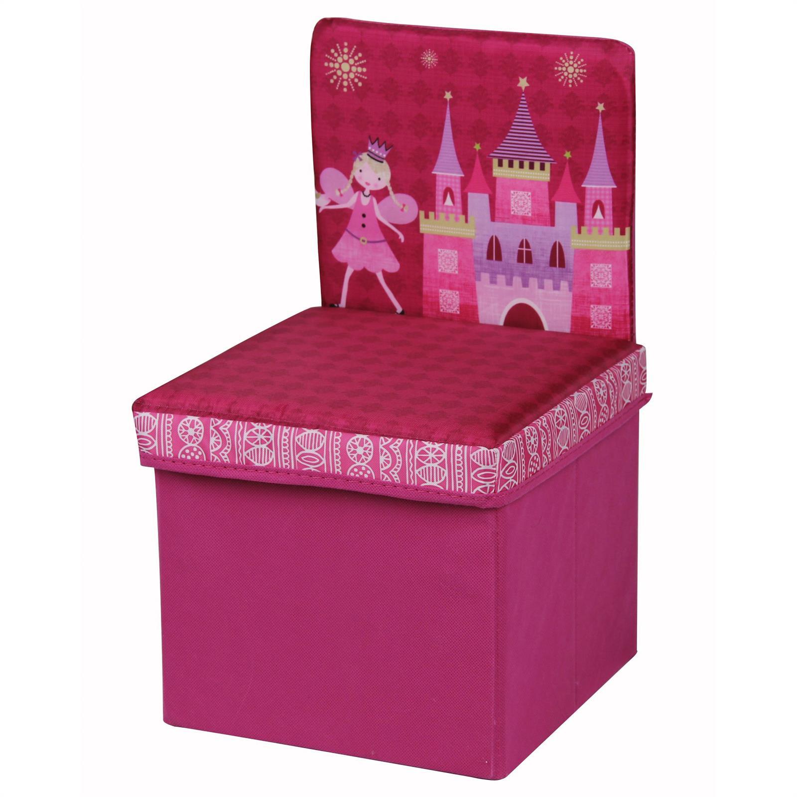kinderstuhl sitzhocker aufbewahrungsbox faltsessel kinderzimmer blau oder pink ebay. Black Bedroom Furniture Sets. Home Design Ideas