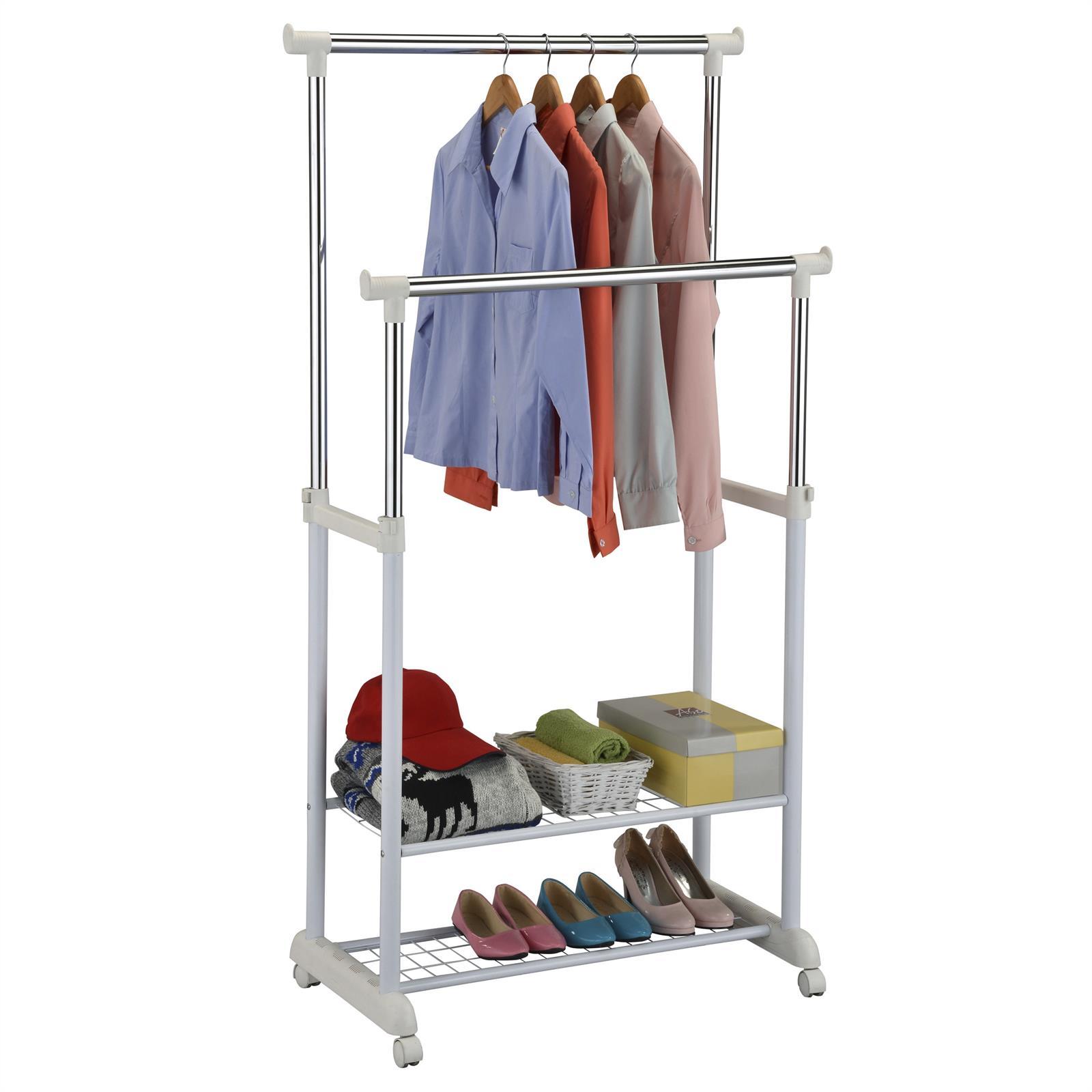 garderobenwagen kleiderst nder rollgarderobe garderobe 2 ablagen kleiderstange ebay. Black Bedroom Furniture Sets. Home Design Ideas