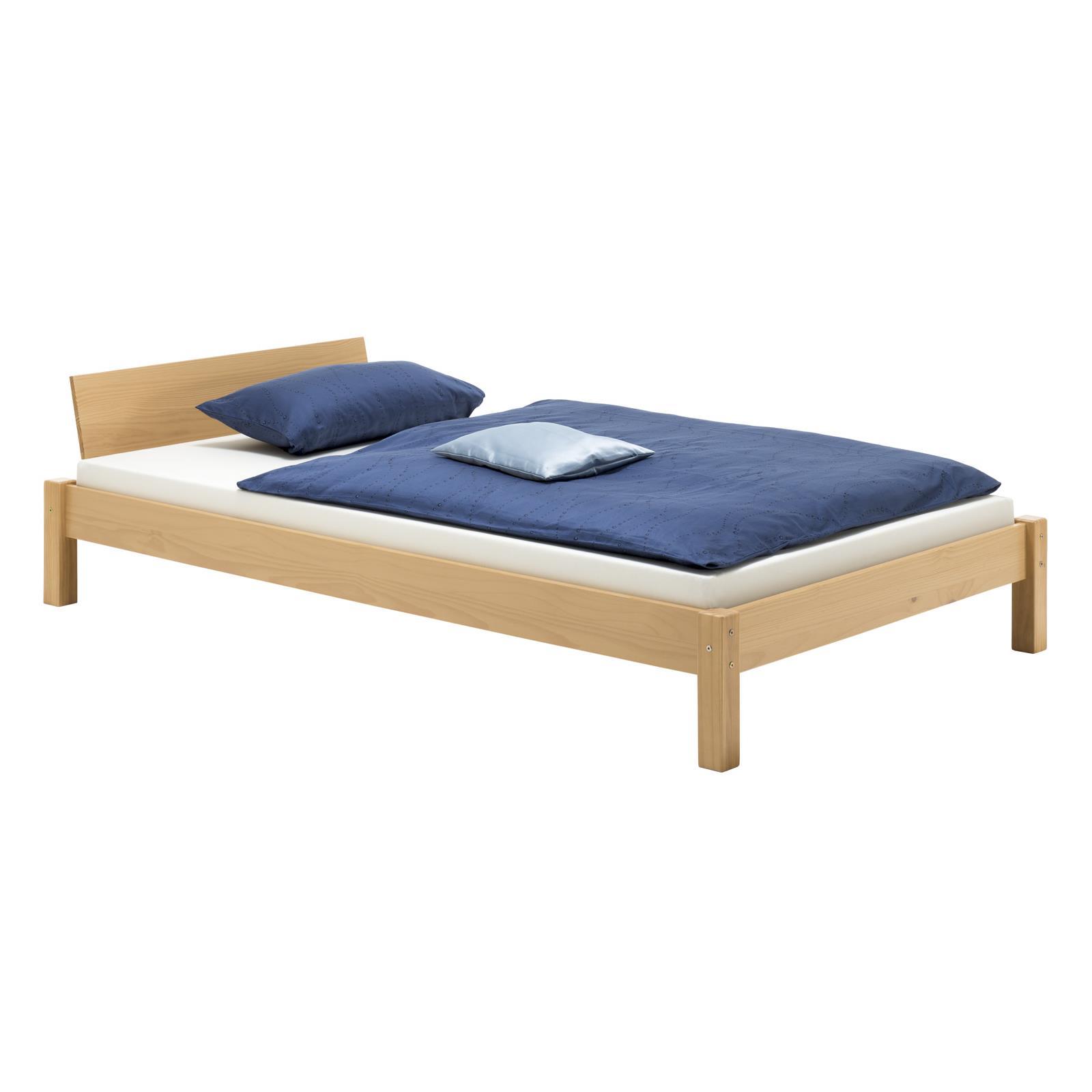 bett einzelbett jugendbett massiv buchefarben 120 x 200 cm neu ebay. Black Bedroom Furniture Sets. Home Design Ideas