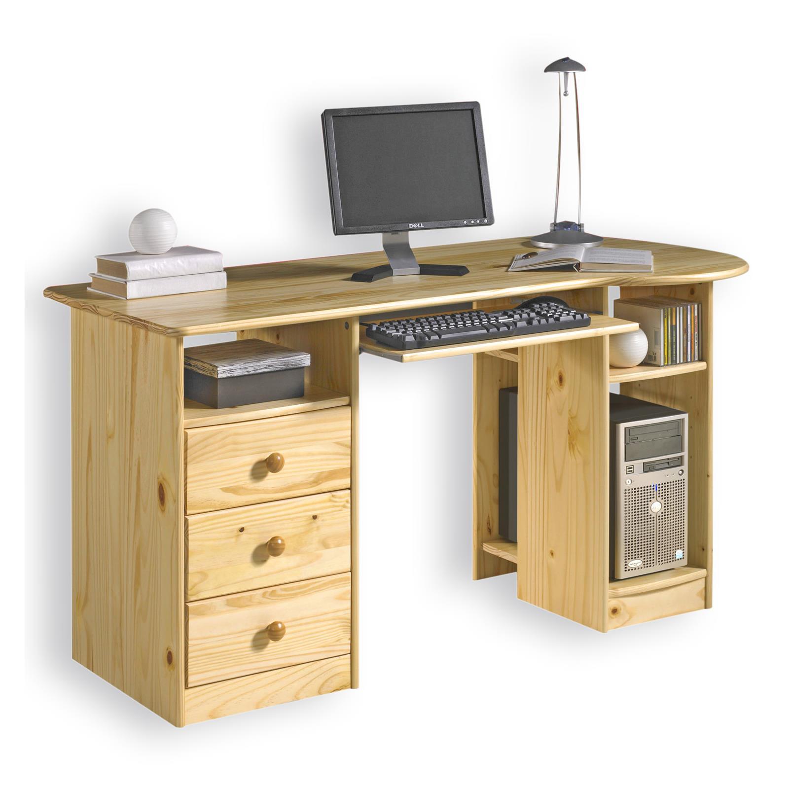 Schreibtisch computertisch pc schreibtisch kiefer massiv for Schreibtisch massiv