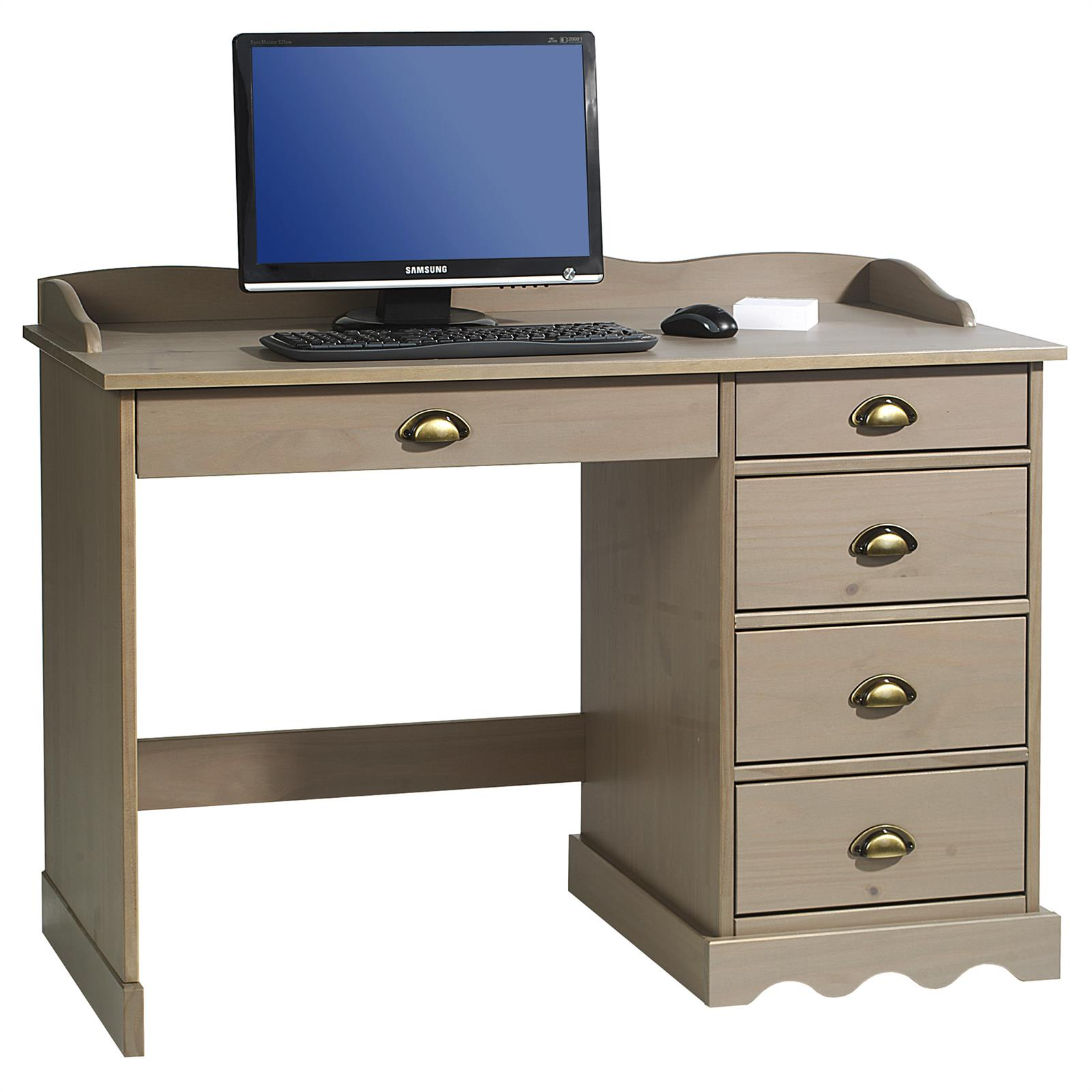 schreibtisch b rotisch arbeitstisch mit 5 schubladen landhausstil kiefer massiv ebay. Black Bedroom Furniture Sets. Home Design Ideas