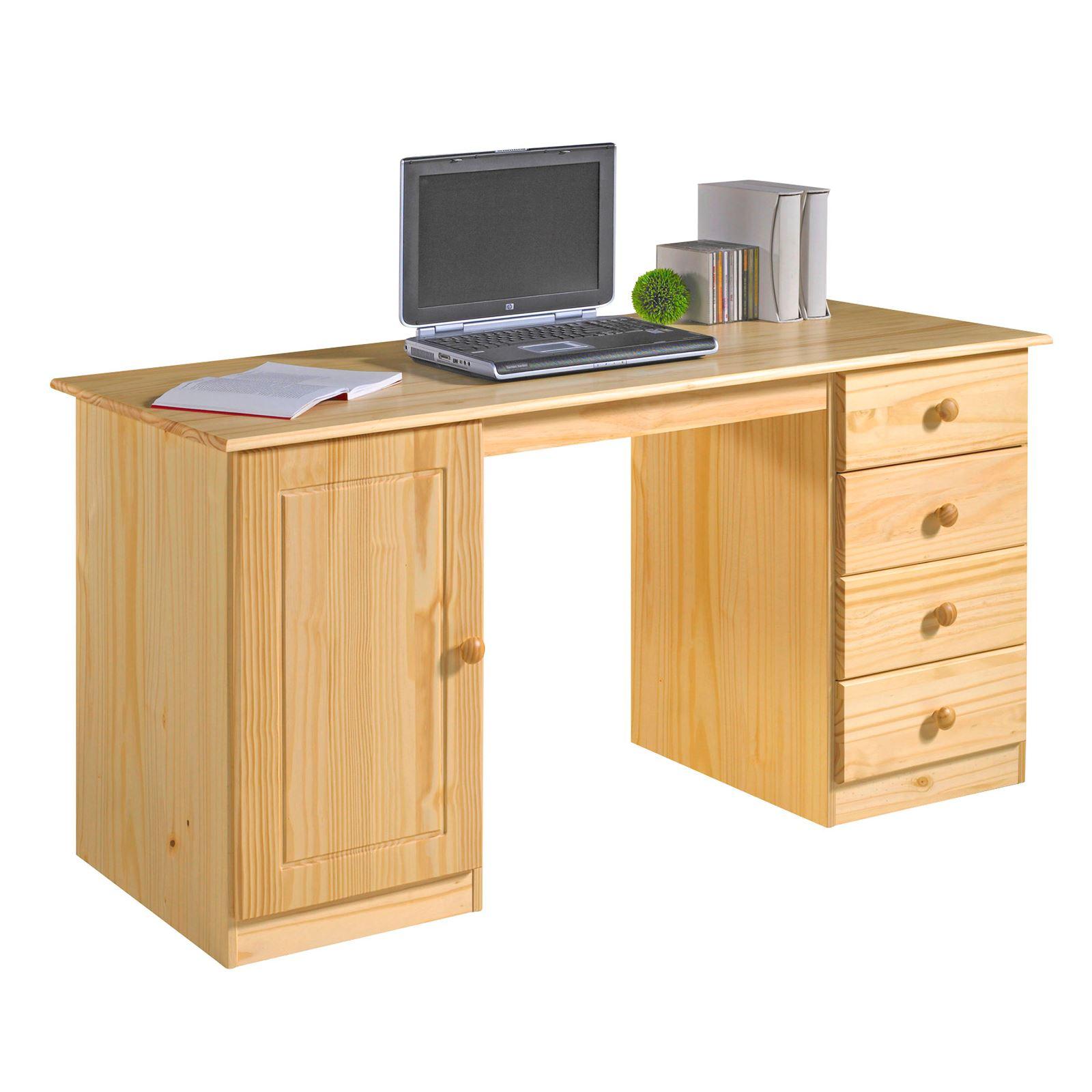 schreibtisch computertisch pc schreibtisch kiefer massiv in mehreren farben ebay. Black Bedroom Furniture Sets. Home Design Ideas