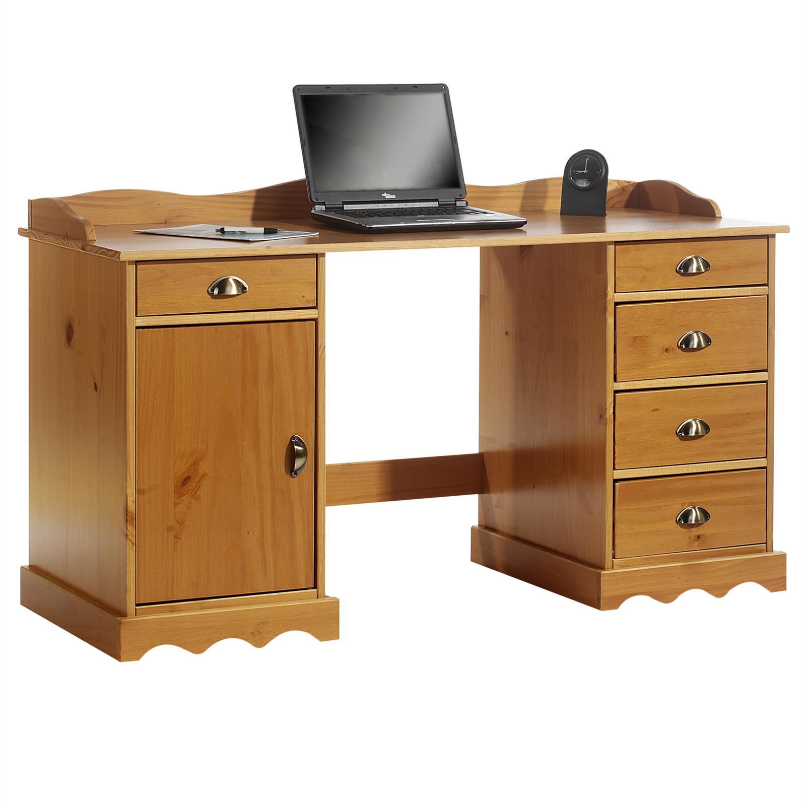 Schreibtisch mit aufsatz computertisch arbeitstisch kiefer for Computer schreibtisch mit aufsatz