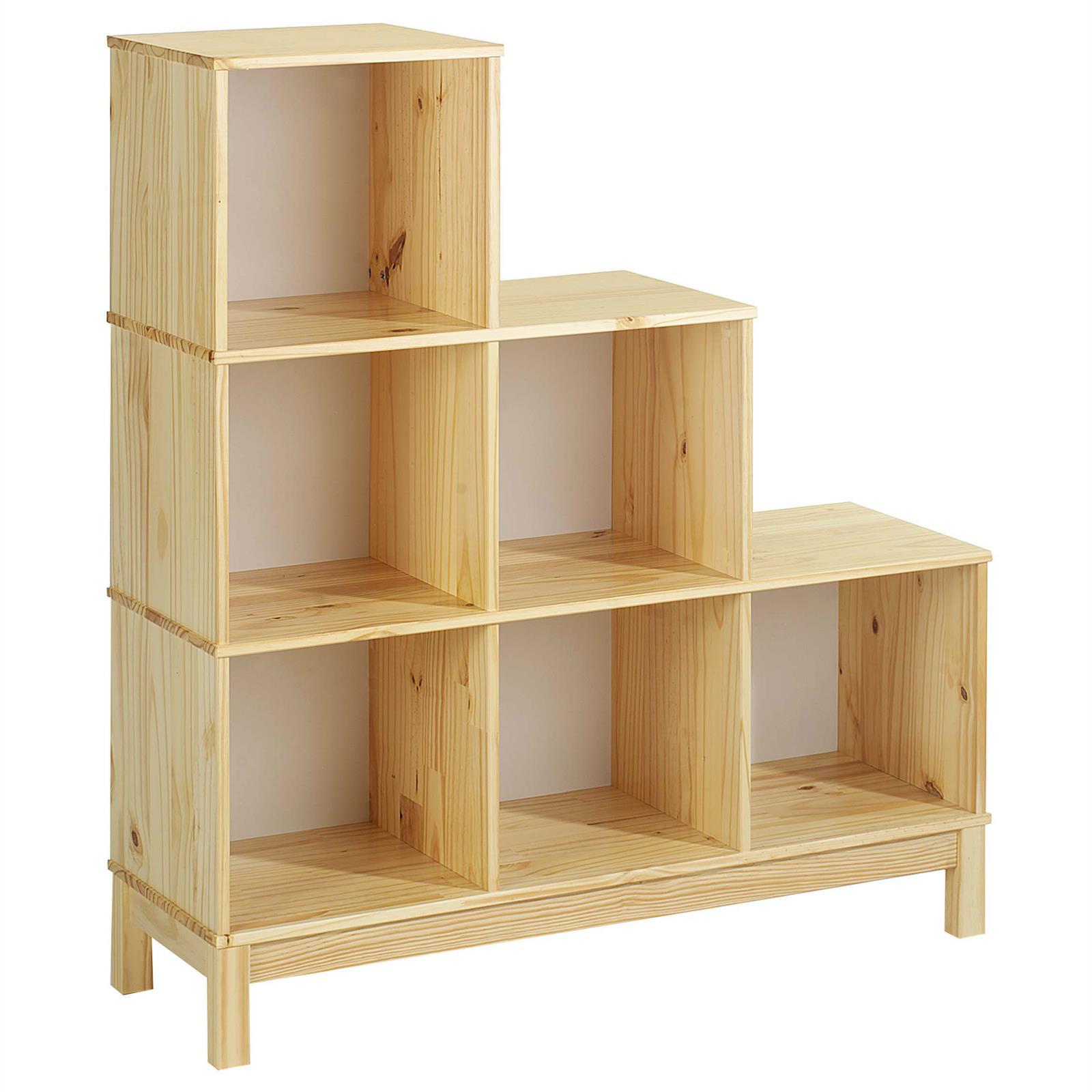 stufenregal regal gestell treppe b cherregal holzregal 6 f cher kiefer massiv ebay. Black Bedroom Furniture Sets. Home Design Ideas