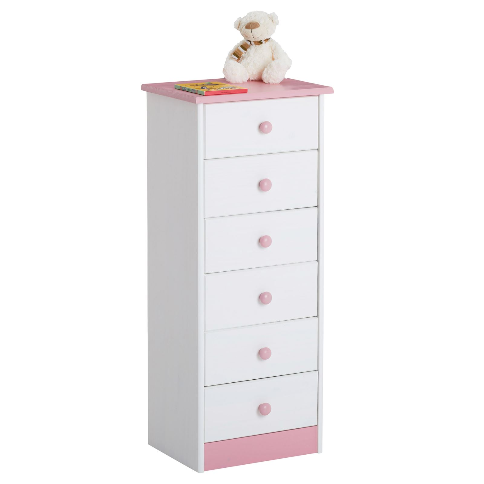 kommode hochschrank mit 6 schubladen highboard kiefer massiv lackiert in 3 farbe ebay. Black Bedroom Furniture Sets. Home Design Ideas