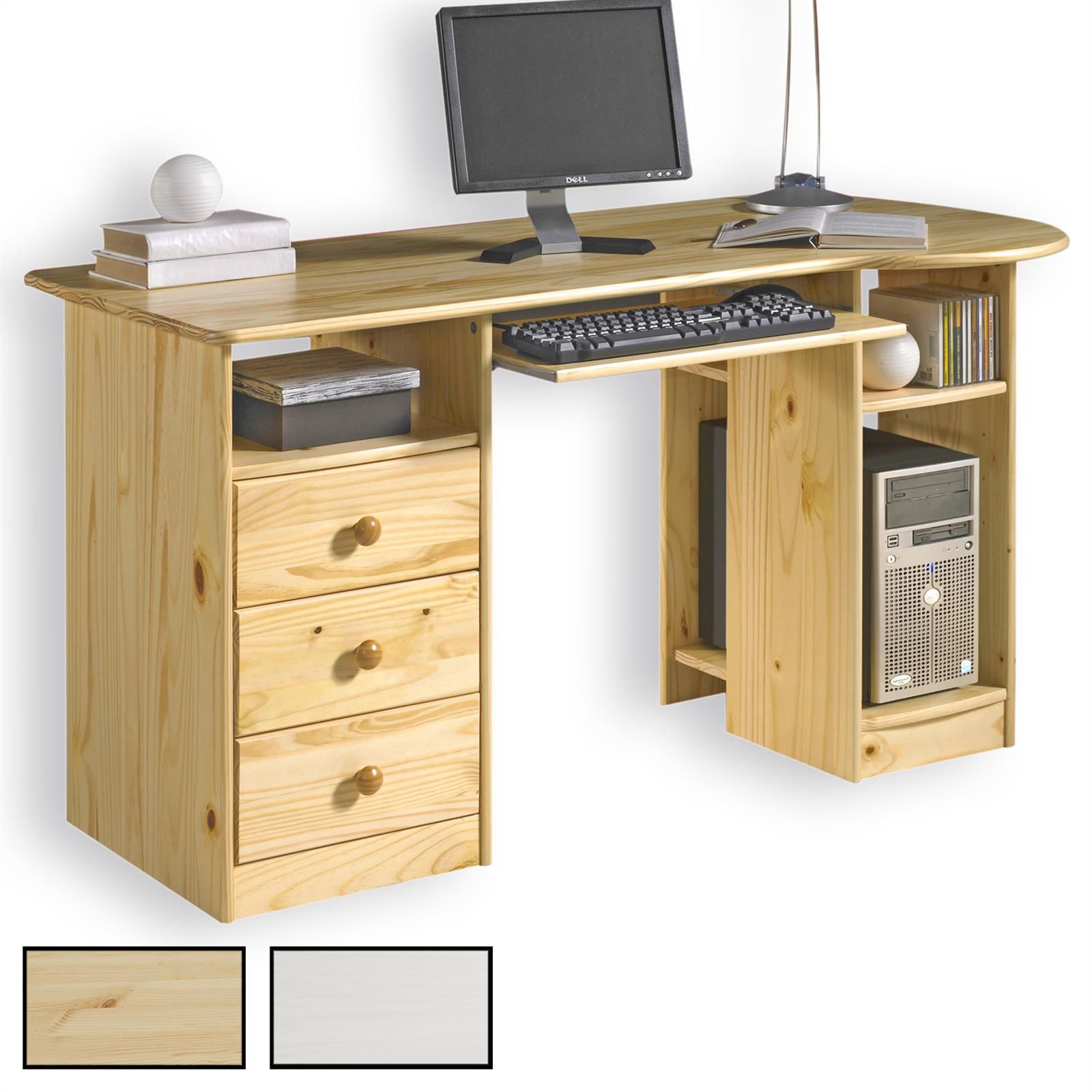 schreibtisch computertisch pc schreibtisch kiefer massiv mit 3 schubladen ebay. Black Bedroom Furniture Sets. Home Design Ideas