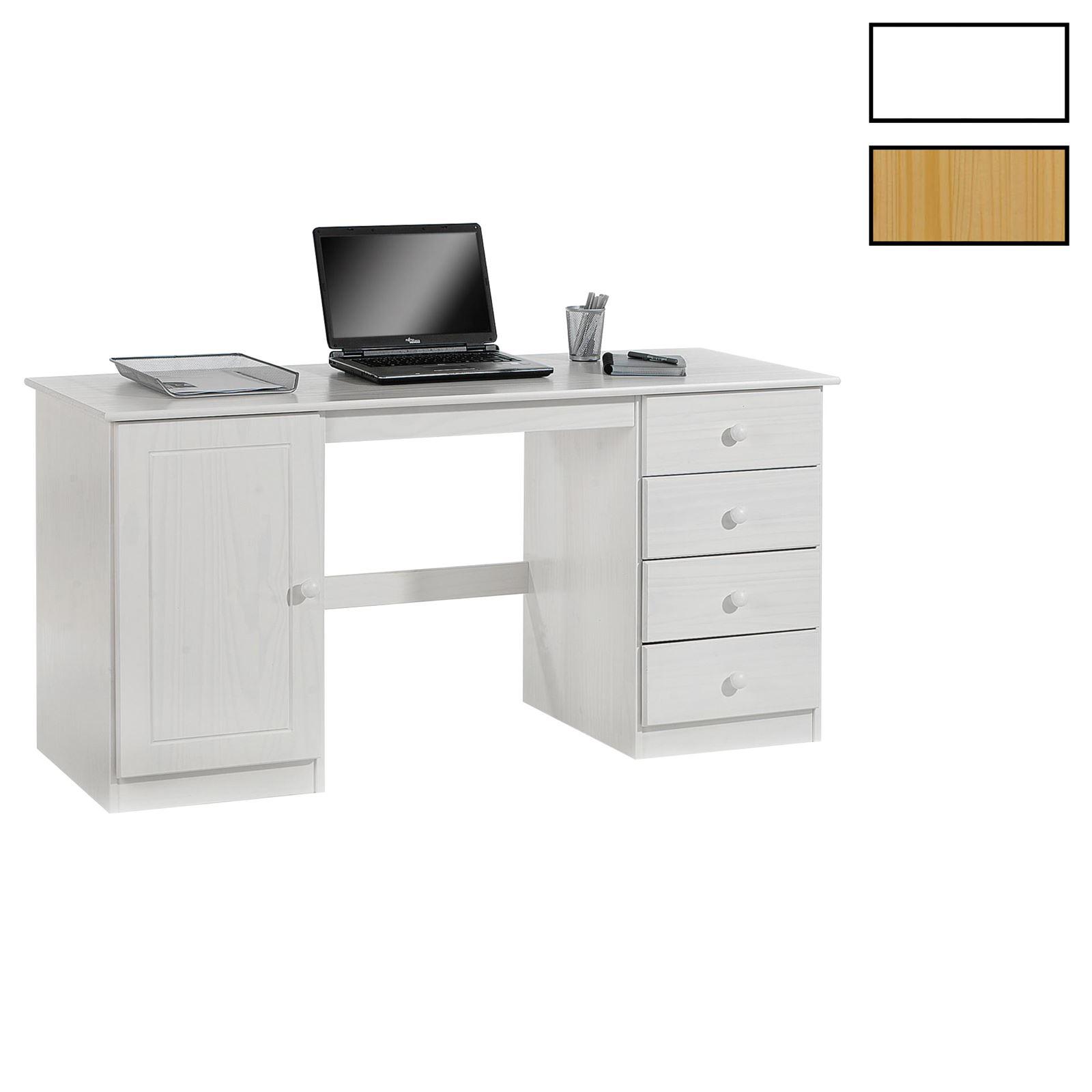 Schreibtisch computertisch pc schreibtisch kiefer massiv for Schreibtisch in kiefer