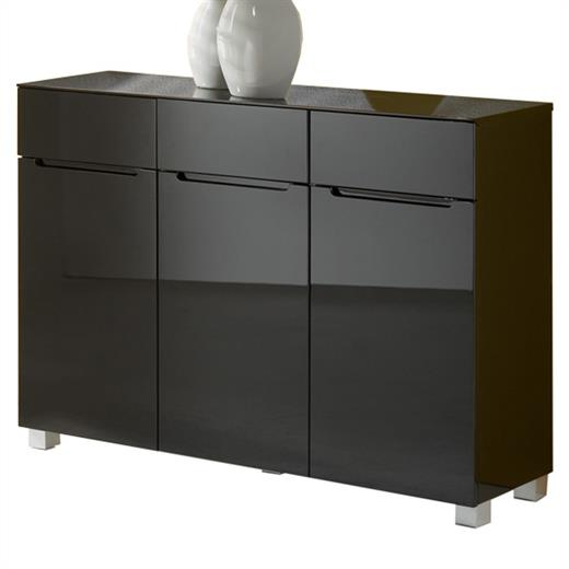 anrichte schuhschrank kommode hochglanz 3 t ren 3 schubladen schwarz ebay. Black Bedroom Furniture Sets. Home Design Ideas
