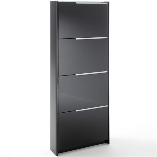 schuhschrank schuhkipper 4 kipper hochglanz lackiert schwarz. Black Bedroom Furniture Sets. Home Design Ideas