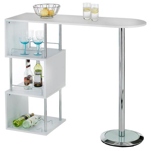 bartisch stehtisch bartresen in wei mit stauraum und flaschenhalterung. Black Bedroom Furniture Sets. Home Design Ideas