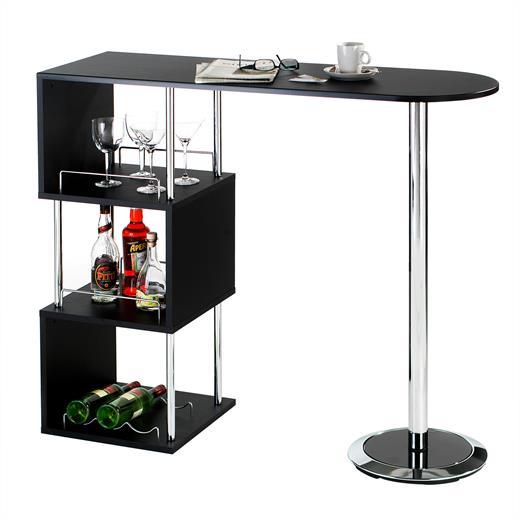 bartisch stehtisch bartresen in schwarz mit stauraum und. Black Bedroom Furniture Sets. Home Design Ideas