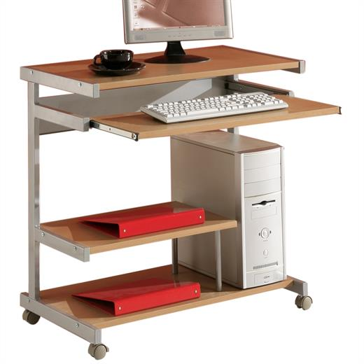computertisch pc tisch station schreib b ro arbeits in buche mit tastaturauszug ebay. Black Bedroom Furniture Sets. Home Design Ideas