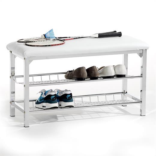 schuhbank kunstleder weiss sitzbank mit schuhablage schuhregal regal 2 b den. Black Bedroom Furniture Sets. Home Design Ideas