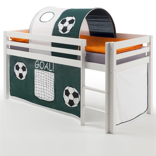 hochbett spielbett bett kiefer massiv weiss lackiert vorhang und tunnel fussball ebay. Black Bedroom Furniture Sets. Home Design Ideas