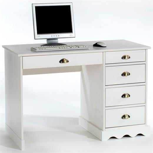 Schreibtisch b rotisch wei massivholz kiefer landhausstil for Schreibtisch abgerundet