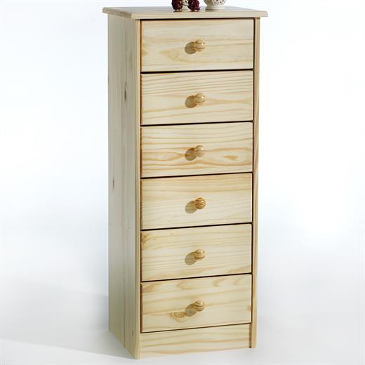 kommode hochschrank anrichte 6 schubladen kiefer massiv natur lackiert. Black Bedroom Furniture Sets. Home Design Ideas