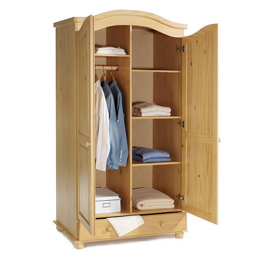 garderobenschrank dielen kleider landhausstil 2t rig 2 t ren kiefer buchefarben ebay. Black Bedroom Furniture Sets. Home Design Ideas
