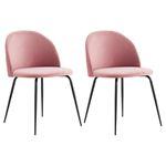 Esszimmerstuhl LOGAN im 2er Set mit Samtstoffbezug in rosa