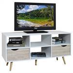 TV Lowboard NANTES in weiß/Sonoma Eiche
