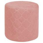 Sitzhocker ORLEANS rund mit Samt Stoff in rosa