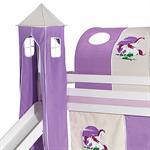 Turm EINHORN zu Bett mit Rutsche, lila/beige