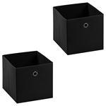 Stoffbox ELA faltbar 2er Pack schwarz