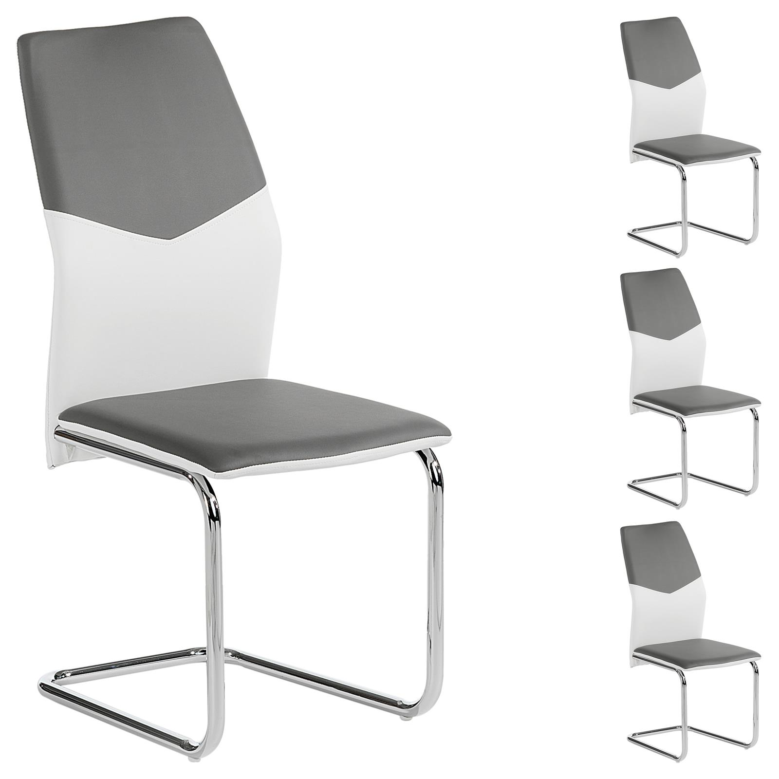 schwingstuhl leona 4er set in wei grau mobilia24. Black Bedroom Furniture Sets. Home Design Ideas