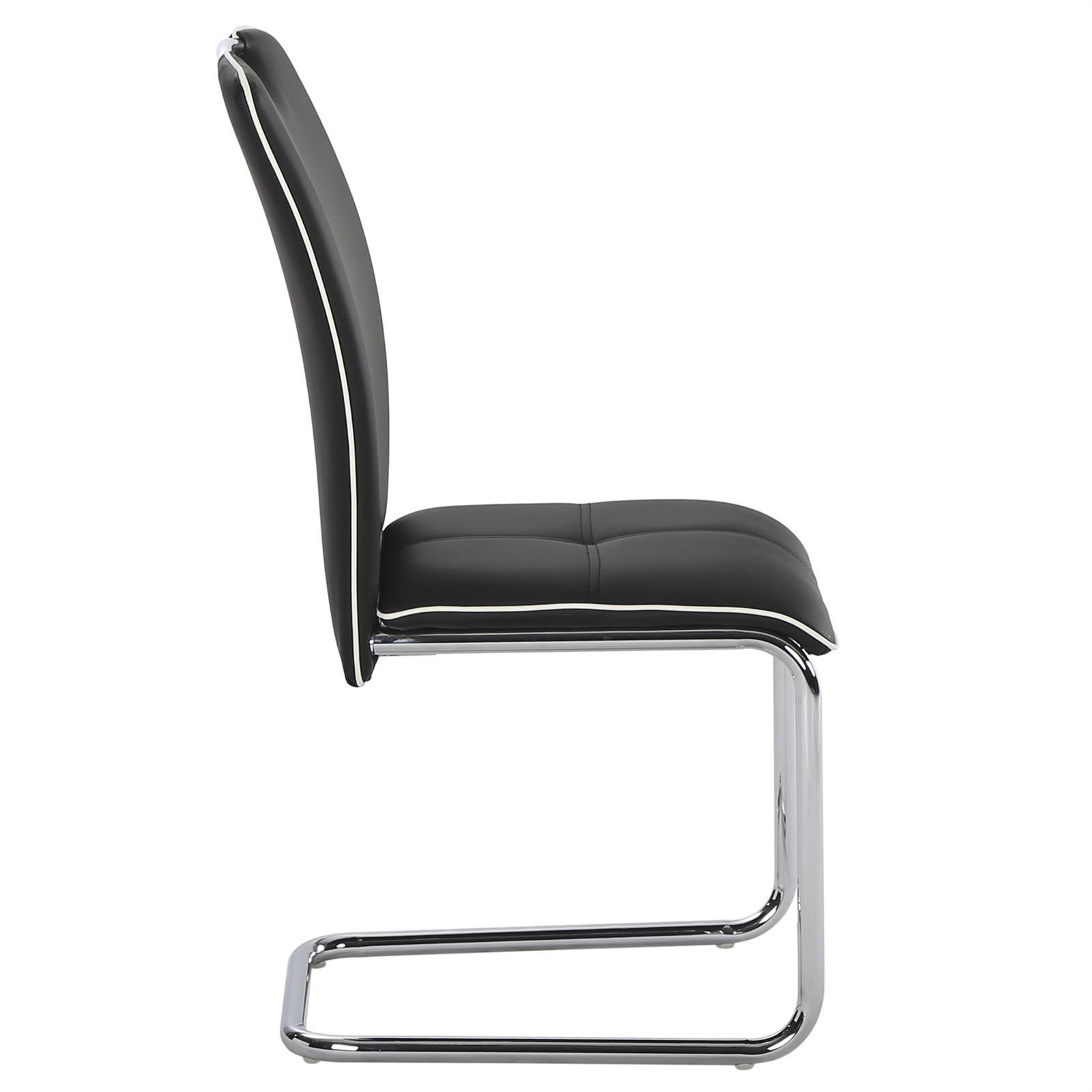 4er pack schwingstuhl freischwinger stuhl set mit leder bezug lederimitat ebay. Black Bedroom Furniture Sets. Home Design Ideas