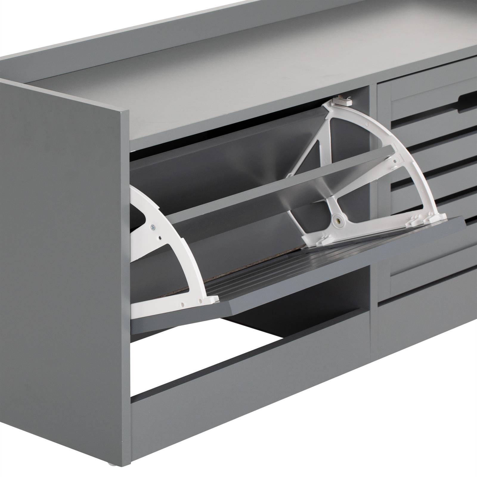 schuhbank schuhkipper schuhschrank sitzbank mit 2 klappt ren im landhausstil ebay. Black Bedroom Furniture Sets. Home Design Ideas