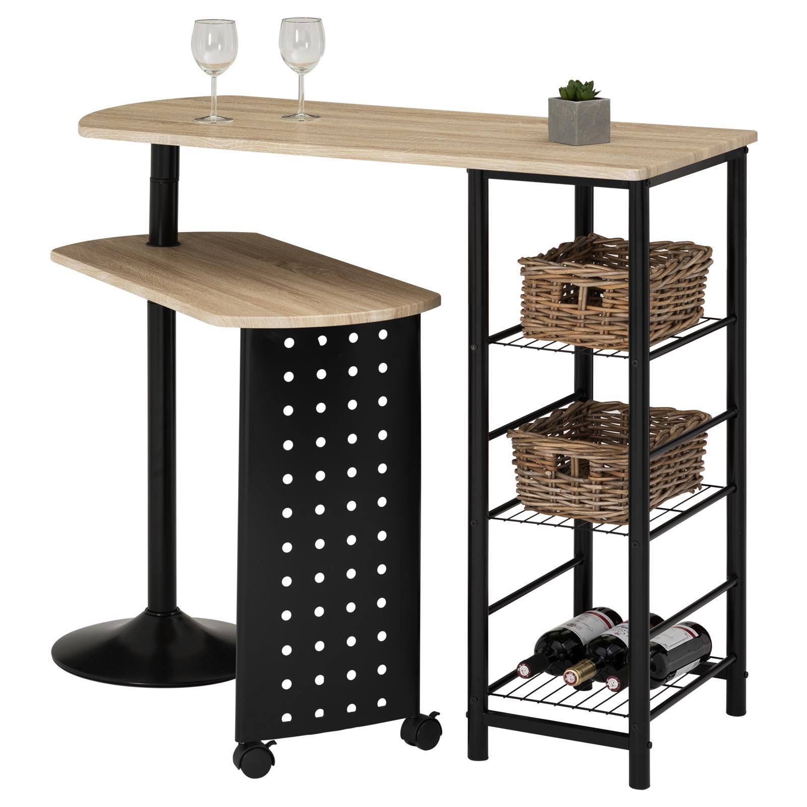 bartisch stehtisch tresen fr hst ckstheke mit regal und schwenkbarem tisch ebay. Black Bedroom Furniture Sets. Home Design Ideas