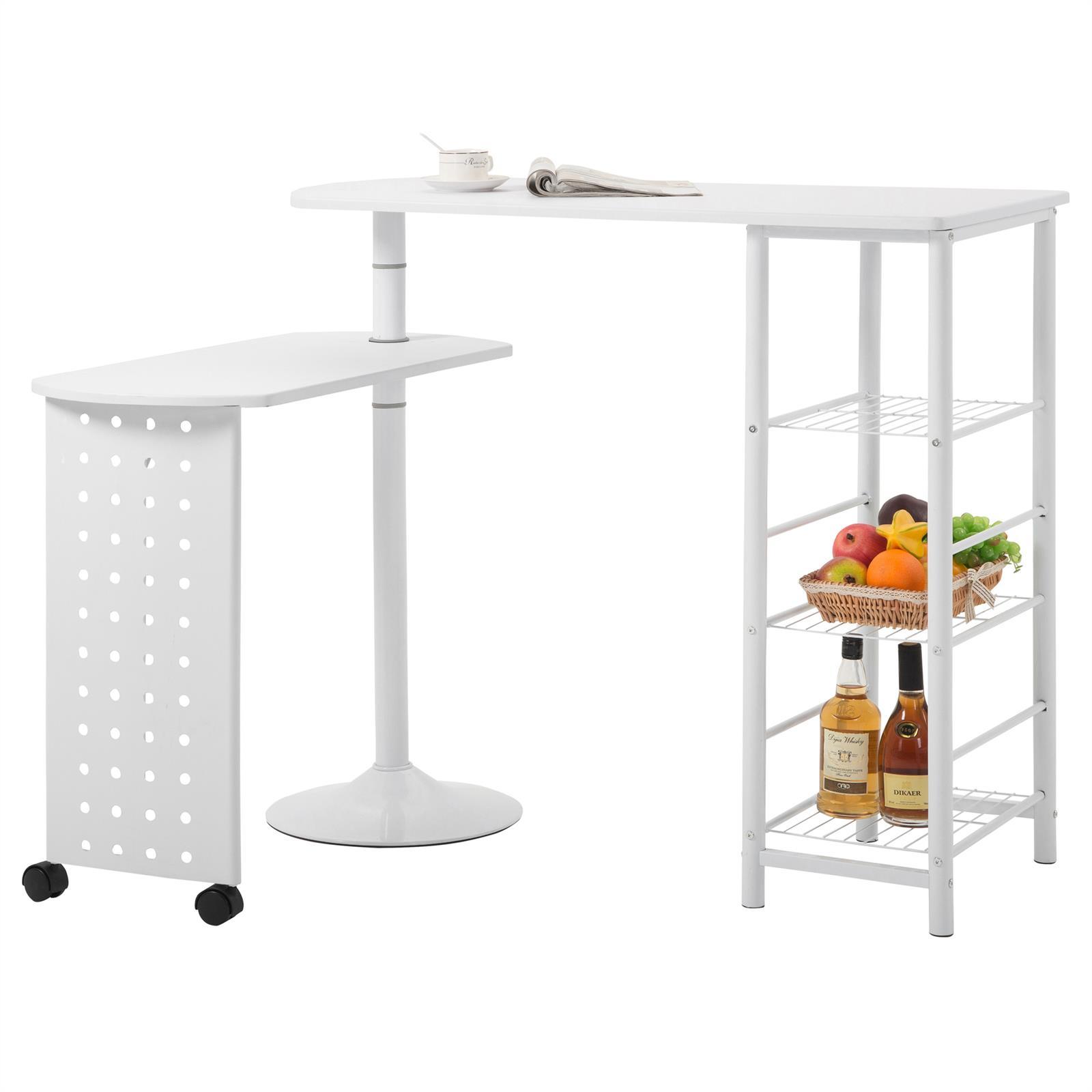bartisch stehtisch tresen in wei mit regal und schwenkbarem tisch ebay. Black Bedroom Furniture Sets. Home Design Ideas