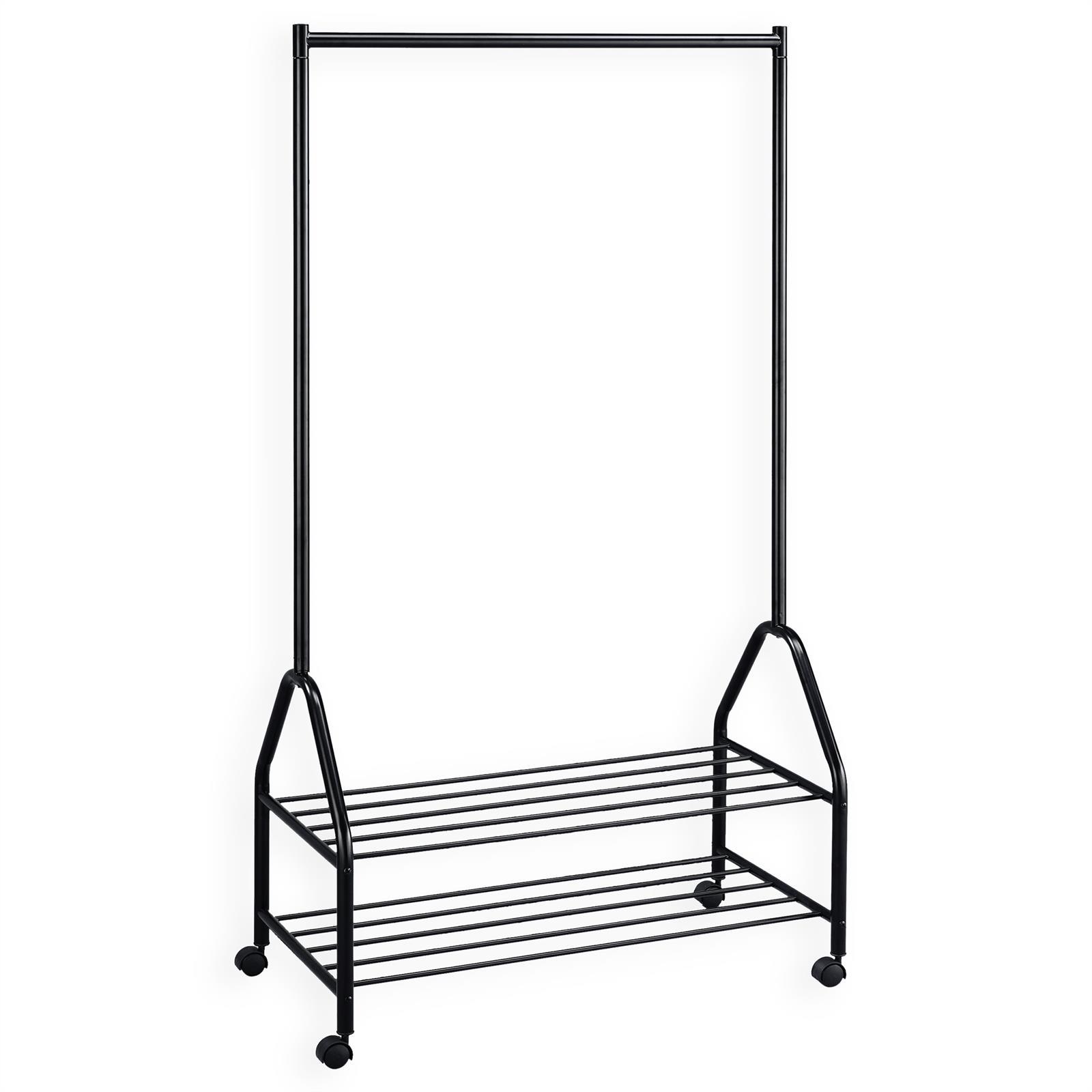 rollgarderobe ebony mit 2 ablagen schwarz mobilia24. Black Bedroom Furniture Sets. Home Design Ideas