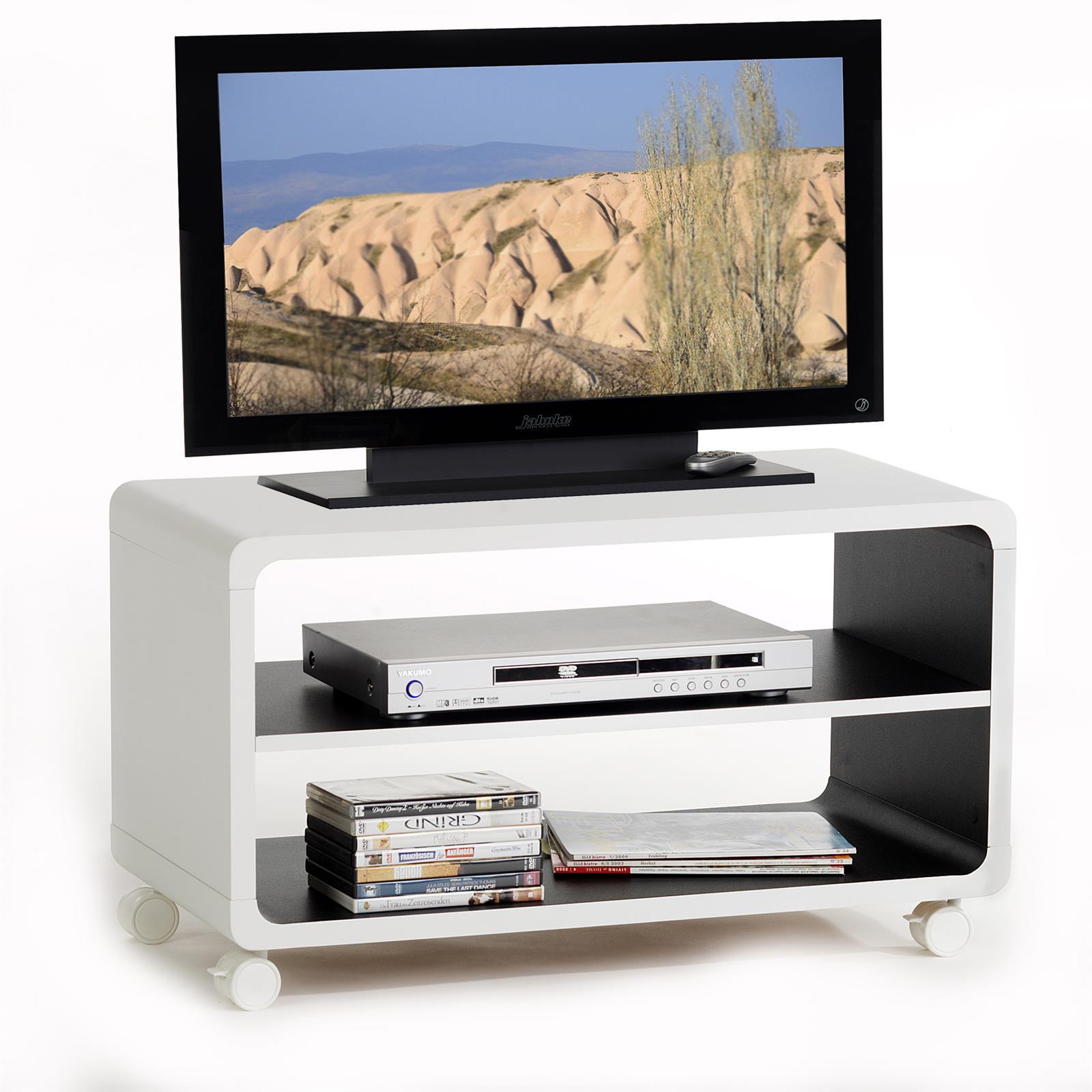 tv rack miami in wei schwarz mobilia24. Black Bedroom Furniture Sets. Home Design Ideas