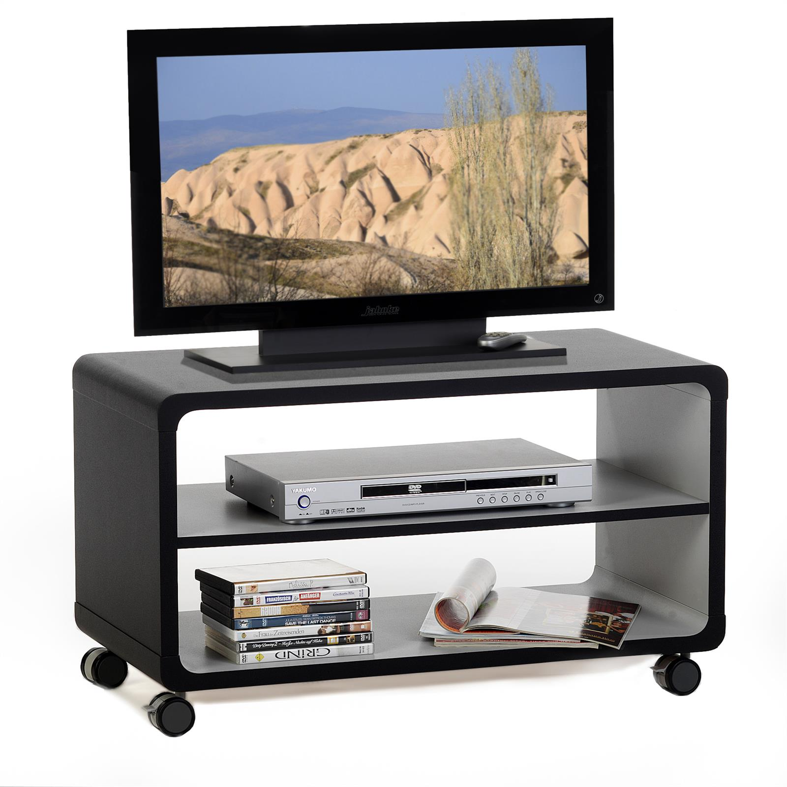 tv rack miami in schwarz grau mobilia24. Black Bedroom Furniture Sets. Home Design Ideas