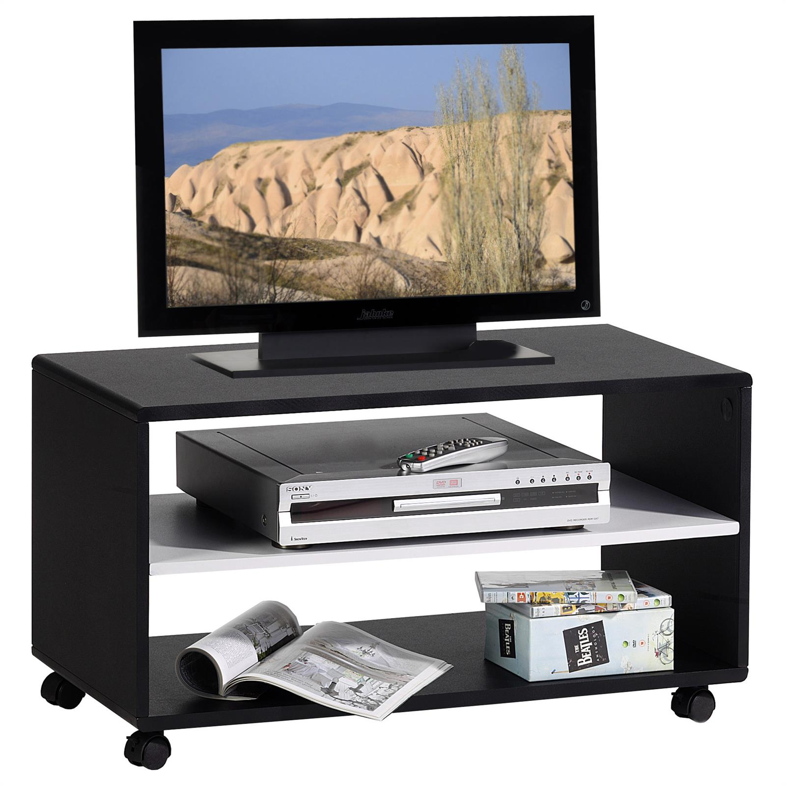 tv rack tv m bel atlanta schwarz wei mobilia24. Black Bedroom Furniture Sets. Home Design Ideas